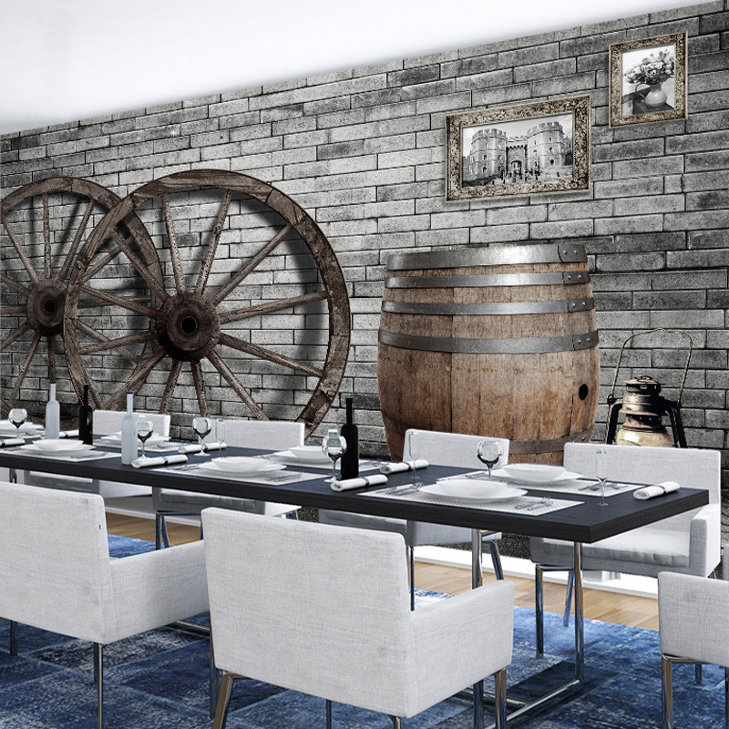 Retro Nostalgia Brick Pattern Wall Paper Mural Vintage Wood Wheel Bar Cafe KTV Restaurant Living Room Decor Wallpaper Custom