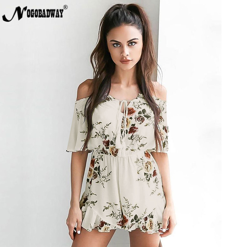 716d7bf3f5f NOGOBADWAY 2018 Casual Playsuit Womens Jumpsuit Short Flower Print Overalls  Summer Boho Bohemian Plus Size Off shoulder Rompers-in Rompers from Women s  ...