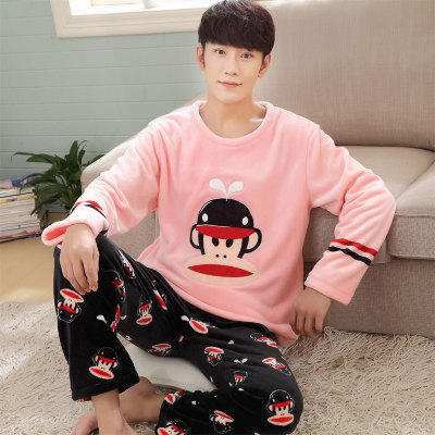 Free shipping Autumn and winter men thickening flannel Pajamas plus size sleepwear male cartoon coral fleece lounge set 24 color