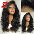Top Beauty Style Color #1B Body Wave Glueless Lace Front Wig With Bangs Heat Resistant Synthetic Wigs With Baby Hair On Sale