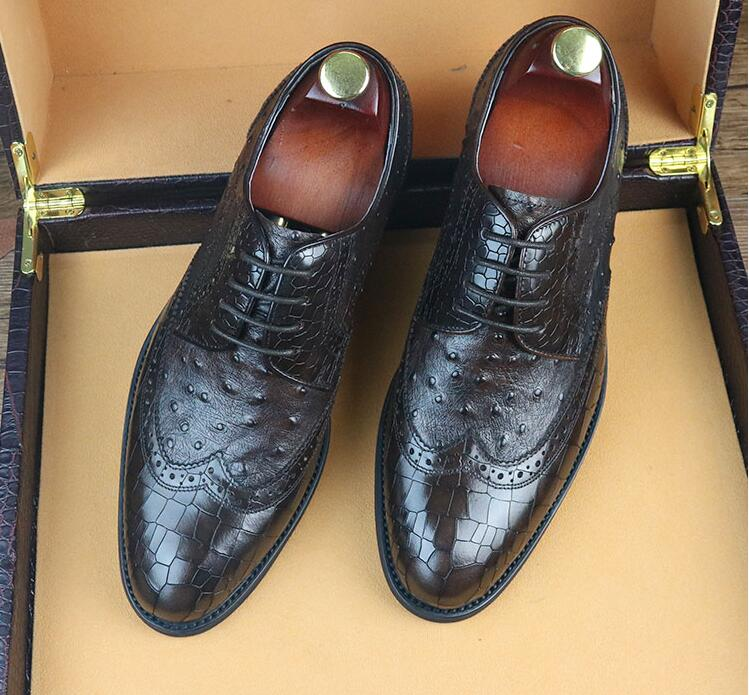 Goodyear Men's Dress Shoes Handmade Pleated Genuine Leather Fake Crocodile Plaid Male Smart Casual Oxfords Lace Up Wedding Shoes plaid pleated cami dress