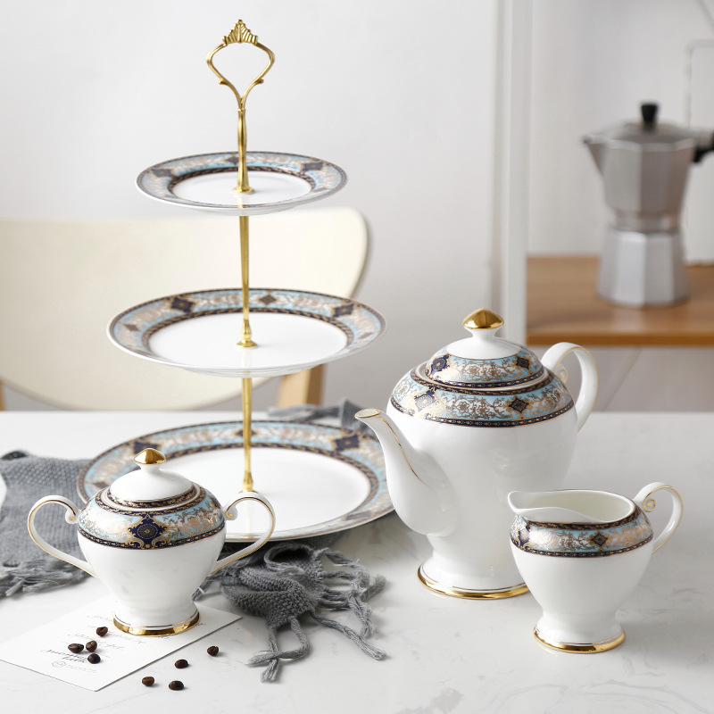 Os européen chine fruits secs plaqué or Snack plaque brochette anglais après-midi théière os chine café Pot ensemble cadeaux