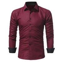 2018 אביב מותג חדש חולצה פס גברים עסקי הגברים Slim Jindian זכר שמלת חולצה בכושר ארוך שרוולי חולצת מקרית camisa masculina