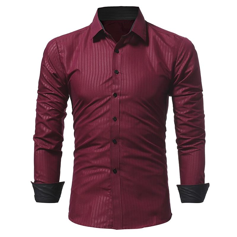 Men Stripe Shirt 2020 Spring New Brand Business Men Slim Fit Dress Shirt Male Jindian Long Sleeves Casual Shirt Camisa Masculina