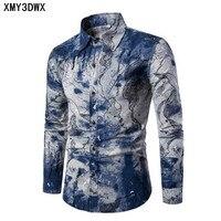 Fashion Spring Autumn Casual Men Shirt Slim Fit Flower Print Linen Shirt Long Sleeved Shirts Male