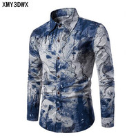 Fashion Spring Autumn Casual Men Shirt Slim Fit Flower Print Linen Shirt Long Sleeved Shirts Male