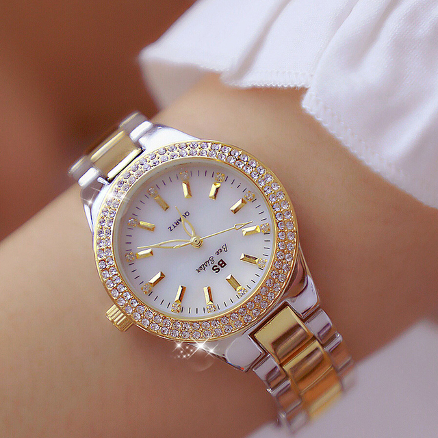 Luxury Brand Crystal Quartz Women Watches Gold Stainless Steel Rhinestones Dress Lady Wrist Watch Female Clock relogio feminino