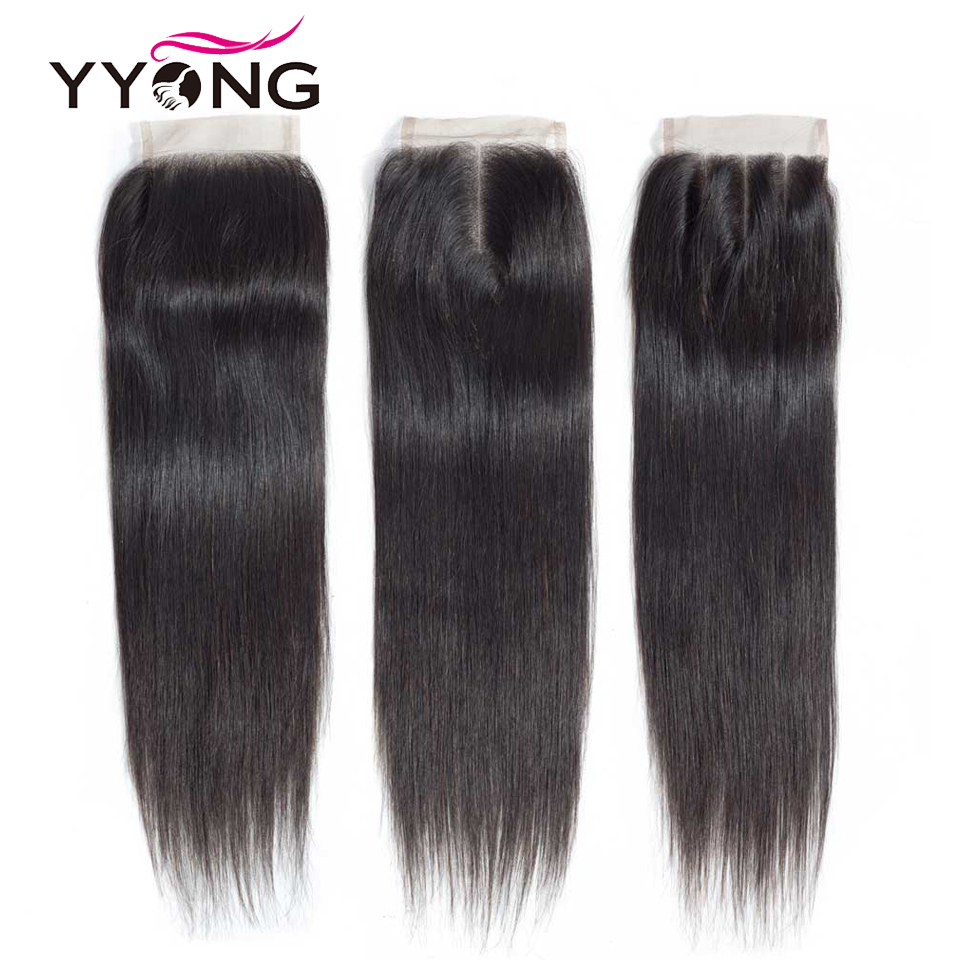 Image 2 - Yyong Brazilian Straight Hair Lace Closure Free/Middle/Three Part 100% Remy Human Hair 4X4 Medium Brown Swiss Lace Top Closure-in Closures from Hair Extensions & Wigs