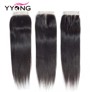 Image 2 - Yyong Brazilian Straight Hair Lace Closure Free/Middle/Three Part 100% Remy Human Hair 4X4 Medium Brown Swiss Lace Top Closure