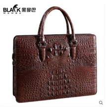 heimanba Genuine crocodile leather handbag business code lock briefcase genuine leather men's bag horizontal section simple pure