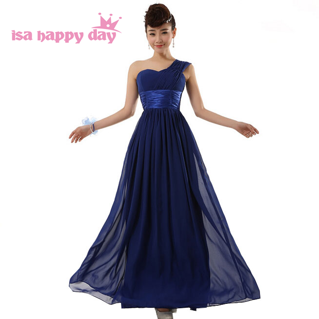 2018 ladies long simple royal blue maids one shoulder maid gown ...
