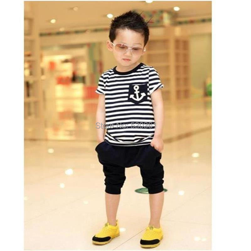 TANGUOANT-Free-shipping-hot-sale-summer-clothing-sets-kids-pants-Top-boys-girls-Navy-Stripe-kids-clothes-children-tracksuit-3