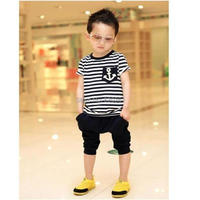 f54e2cf45e889 TANGUOANT Free shipping hot sale summer clothing sets kids pants + Top boys  girls Navy Stripe kids clothes children tracksuit