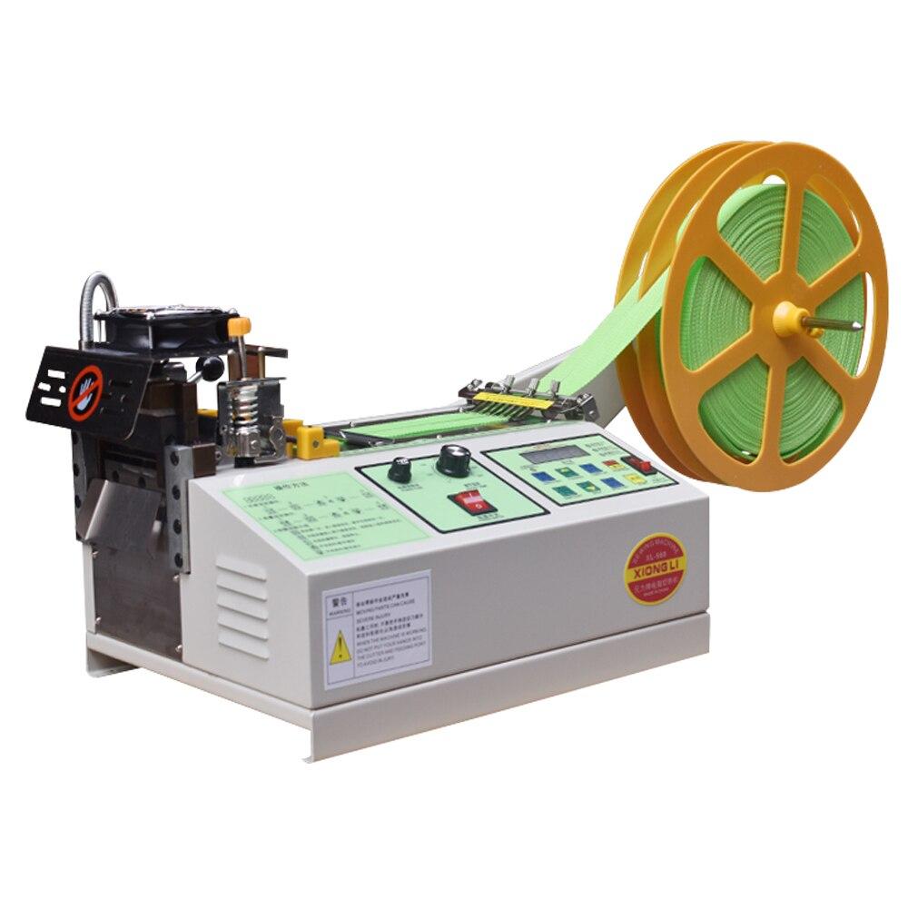 XL-988 computador quente e frio pano cinto máquina de corte fita automática magia fita adesiva zíper webbing máquina corte elástico ferramentas