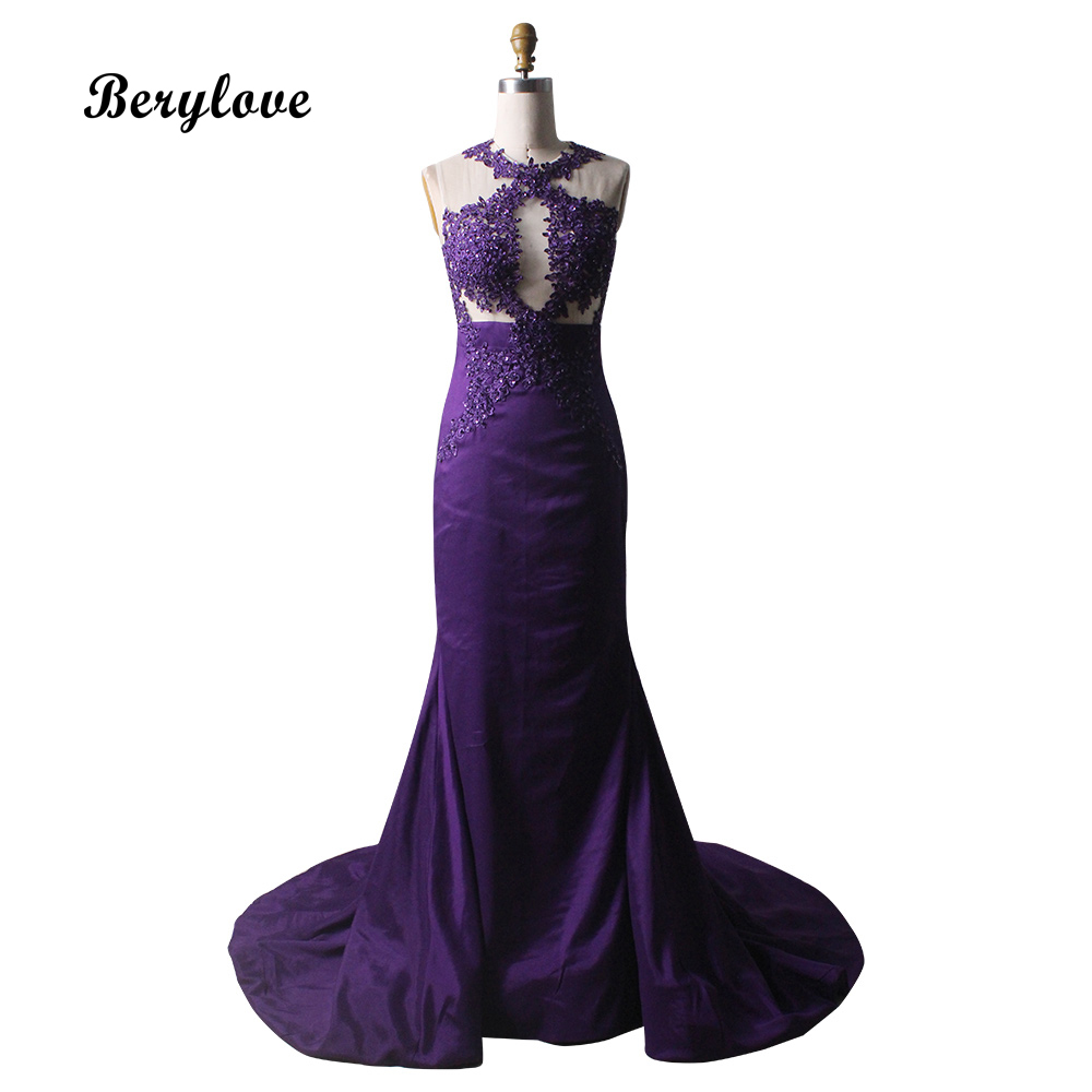 BeryLove Illusion Purple Mermaid Evening Dresses Styles Beaded Lace Satin Evening Dress 2018 Long Prom Dresses Formal Gowns