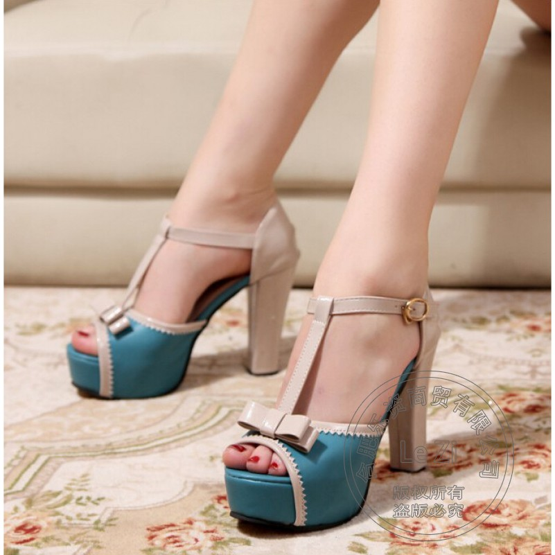 Wearproof Leisure Fish Mouth Shoes High Heels Square Heel Shoes For font b Women b font