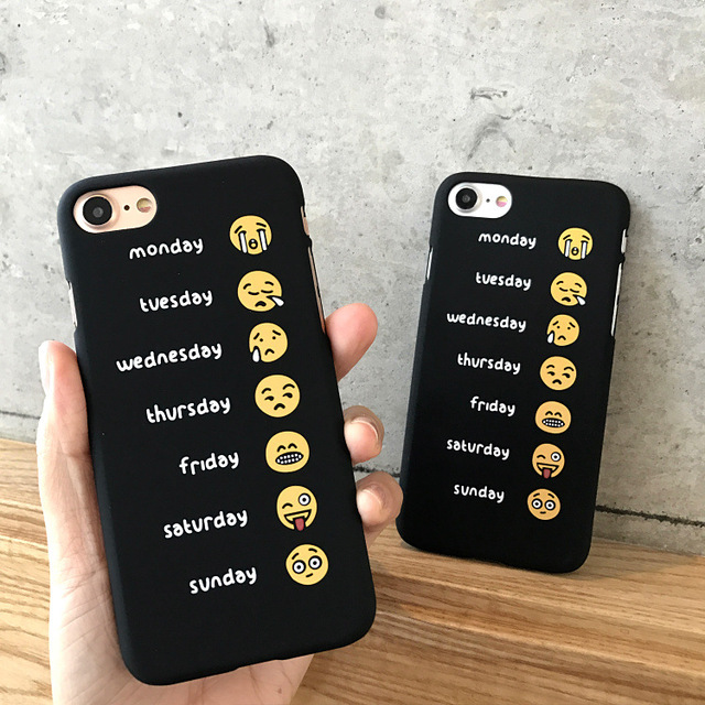 sports shoes b9604 b264b US $0.9 30% OFF|One Week Working Expression Letter Print Back Cover for  Iphone 6 6s Plus 7 8 Plus X Ultra Thin Hard PC Phone Case Funny Cartoon-in  ...