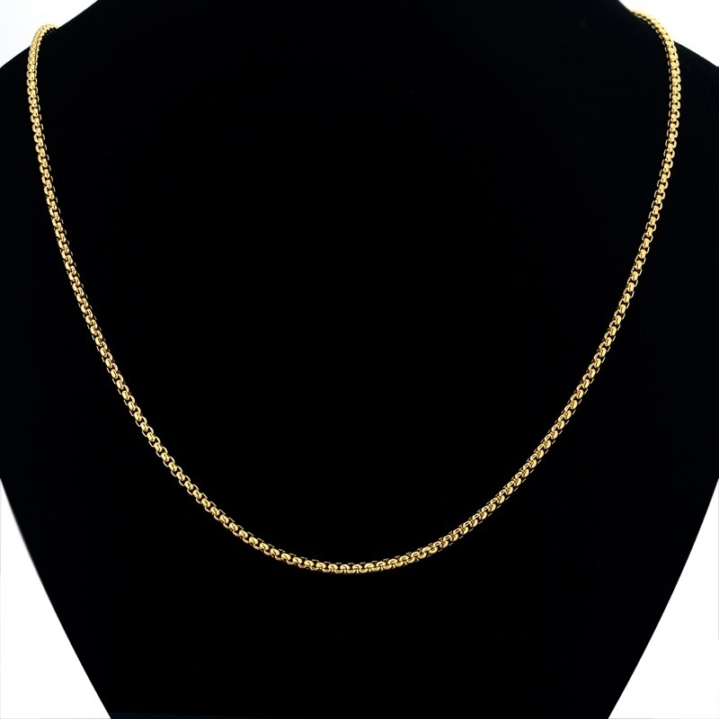 2 5mm Stainless Steel Box Chain Necklace for Men Women DIY Fine Jewelry Gold Color Chain Necklace 60cm in Chain Necklaces from Jewelry Accessories