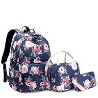 3pcs/Set Resistant Lightweight Backpack Flower Printing Female Laptop backpacks College School Bags for Teenager Girls Bookbag