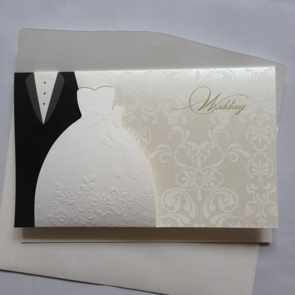 Wedding Invitation Bride & Groom Dress Blank Invitation