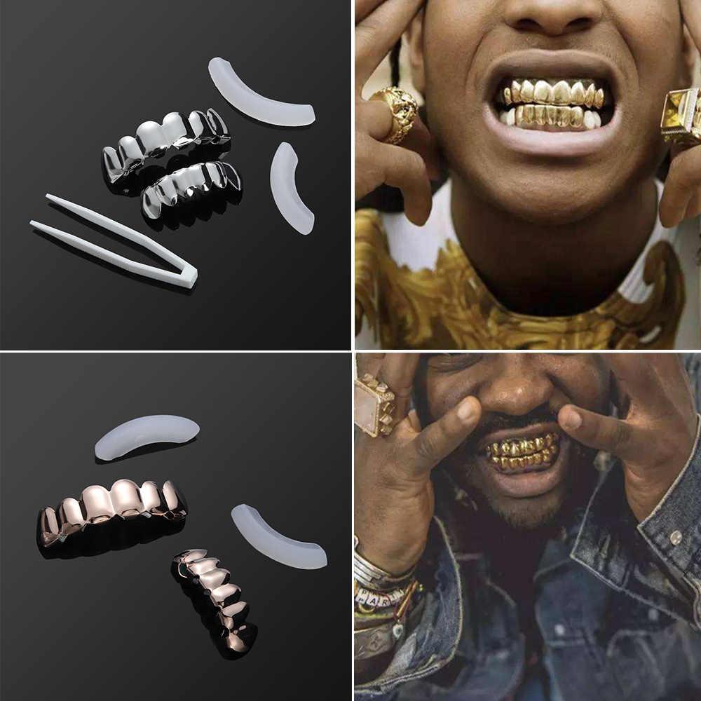 1Pcs 2019 חדש היפ הופ זהב שיניים גריל למעלה & תחתון שיניים גריל שיניים ערפד שיניים כובעי פה ליל כל הקדושים מסיבת גוף תכשיטים