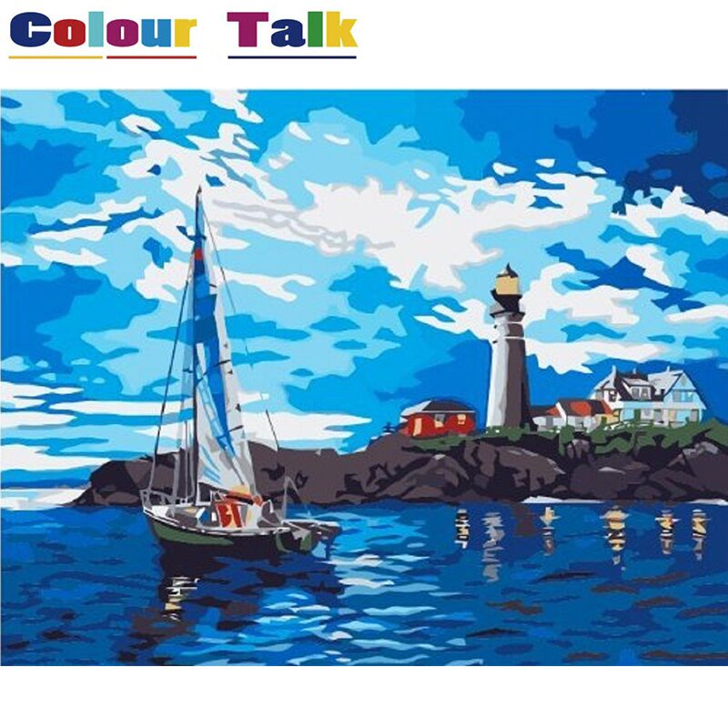 Canvas Painting by Numbers DIY Pictures Coloring by Numbers Acrylic Wall Pictures Home Decor No Frame Oil Painting Beacon P-0170