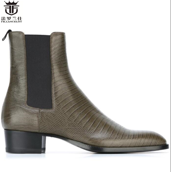 FR.LANCELOT Chelsea boot men print leather boots British Style point toe ankle boots high quality low heel party men boots fr lancelot 2018 fashion chelsea boots british style men leather boots low heel fashion men s booties party shoes mujer botas
