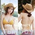 Nuevas mujeres de moda de hombre grande ancho de playa del verano del borde niñas paja del casquillo del sombrero de vaquero Visor con la correa cortavientos