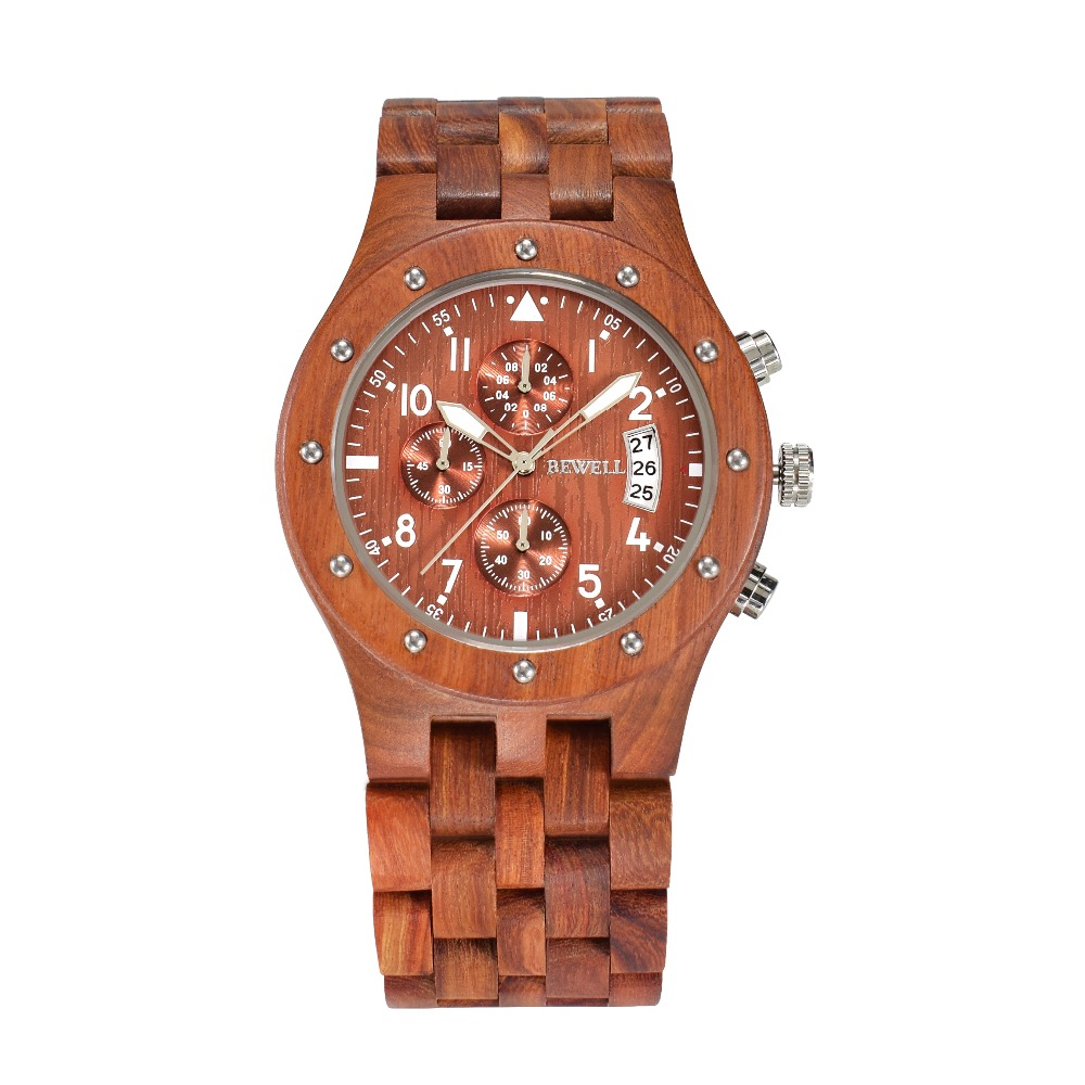 BEWELL Men Wooden Chronograph Watches Men s Top Brand Luxury Design Military Clock Man Quartz Wrist