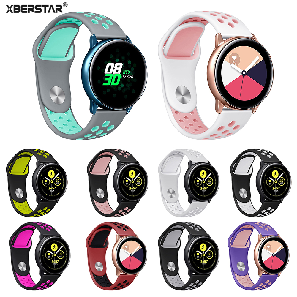 Silicone Wristband Strap For Samsung Galaxy Watch Active Double Color Sports Strap Watchband Bracelet Wrist Band Replacement