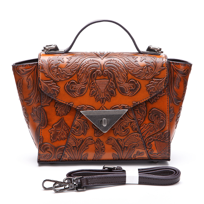 Retro Natural Cowhide Tote Handbag Cross Body Shoulder Bag Ladies Luxury Travel Bag Women Genuine Embossed Leather Messenger Bag luxury 100% genuine leather women bag handbag retro cowhide ladies shoulder bag messenger bag big capacity tote bag aw rs03