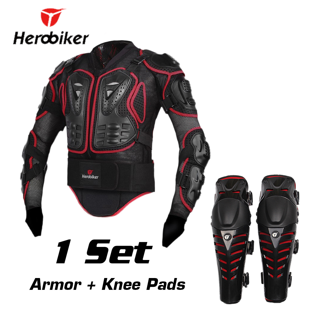 HEROBIKER Motorcycle Riding Armor Jacket + Knee Pads Motocross Off-Road Enduro ATV Racing Body Protective Gear Protector Set herobiker motorcycle body protection motocross racing full body armor gears short pants motocycle knee pad motorcycle armor