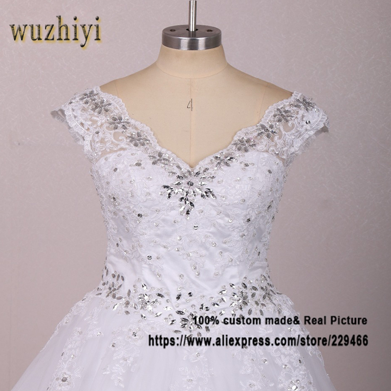 wuzhiyi vestidos de noiva Lace Appliques Wedding dress 2017 Custom made Sexy V neck wedding dresses with Beading Crystal gowns