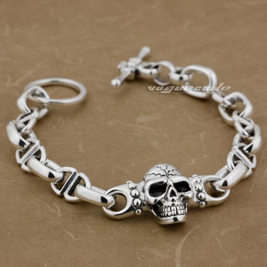 Heavy Solid 925 Sterling Silver Skull Mens Biker Punk Bracelet 8H001 Free Shipping