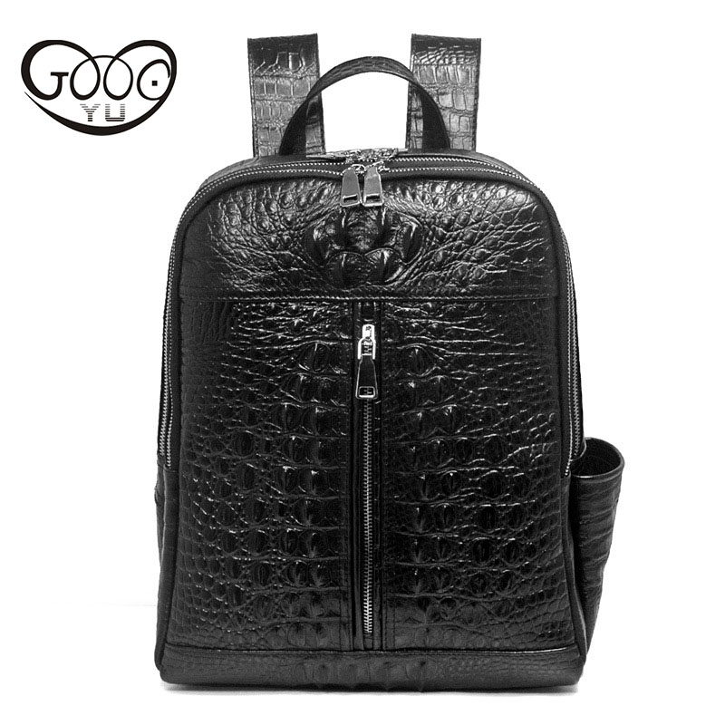 First layer of leather men's backpack Korean fashion leather crocodile pattern computer bag large capacity leisure bag new korean version of the first layer of leather shoulder bag leisure travel bag fashion leather wild cat ears backpack