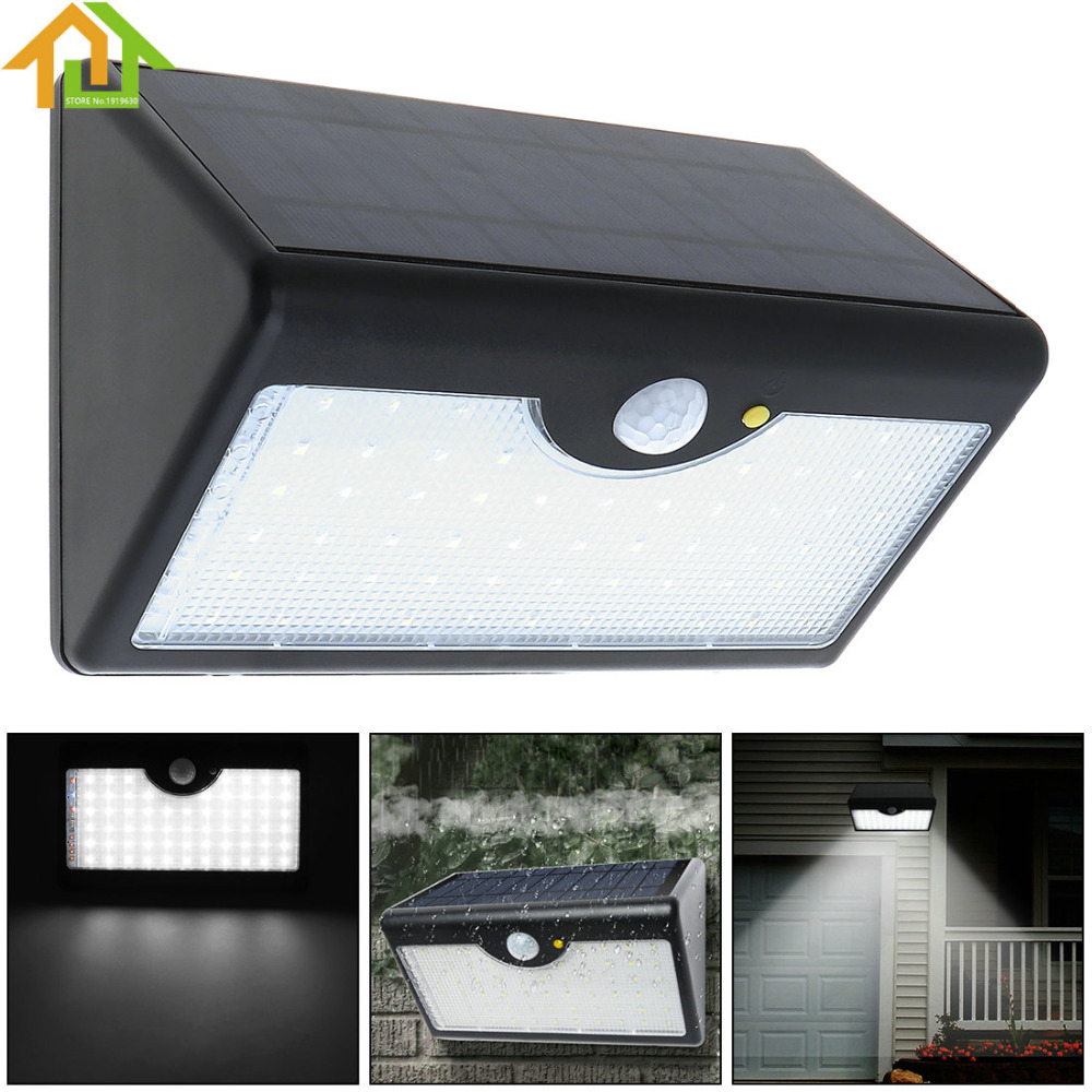 Upgraded 60 LED Garden / Home / Street Rechargeable Solar Power PIR Motion Sensor Wall Light with Five Modes In One Solar Lamps