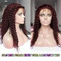99J Vinho Escuro Vermelho 150% a Densidade Do Cabelo Crespo Crespo Indiano Remy Glueless Parte Dianteira Do Laço Perucas de Cabelo Humano, Parte Dianteira Do Laço Do Cabelo Humano peruca
