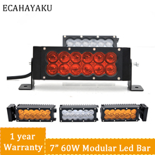 ECAHAYAKU 60w 120w Daul Row Led Light Bar Straight Driving 7 15 22 32 42 50 car accessories Offroad Off Road Combo
