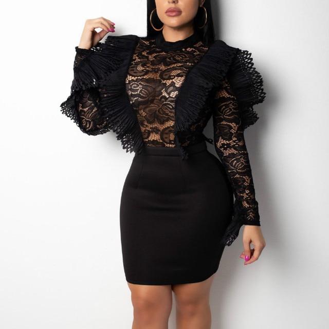 See Thru Ruffles Long Sleeve Dress
