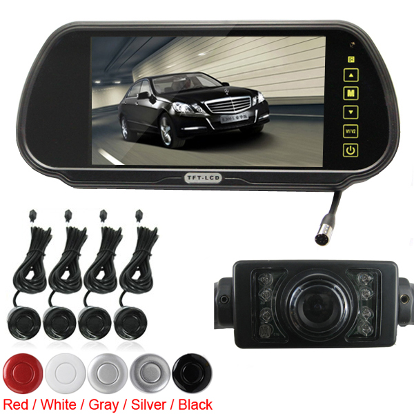 Brand New Brand New Super 7 Inch TFT LCD Car Rearview Monitor + 4 Parking Sensor + Waterproof Rear View Camera, 2 Video Input car rear view system 7 inch ahd car monitor 2 video input color lcd car reverse rearview monitor for camera dvr
