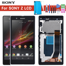 ORIGINAL Display For SONY Xperia Z LCD Touch Screen Digitizer With Frame For SONY Xperia Z LCD L36H C6603 C6602 kinston colorful rhombus pattern plastic hard case for sony l36h xperia z white red