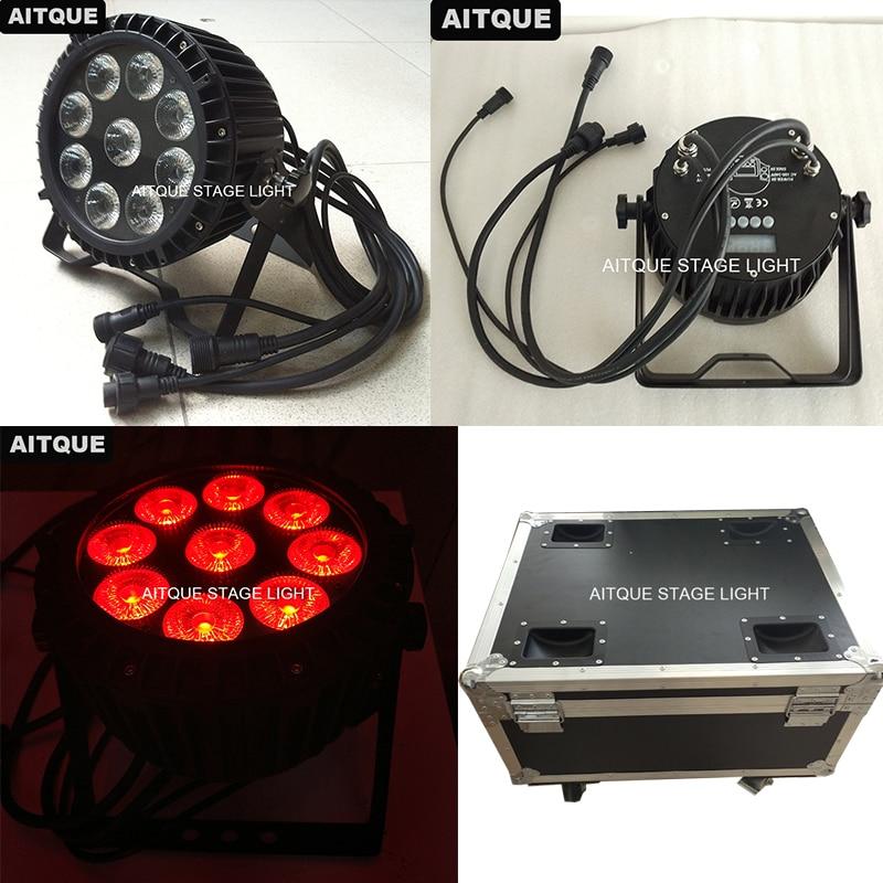 (12lot/CASE)Stage Effects Led Mini Par Can 9x10w Led Flat Par Light Rgbw 4in1 Par Can Wash Light Ip65 Outdoor Flycase