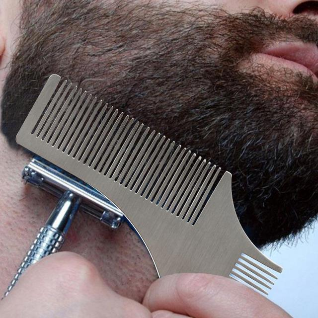 BellyLady Stainless Steel Beard Shaping Comb Beard Shaping Tool Beard Modeling Template Carding Tool