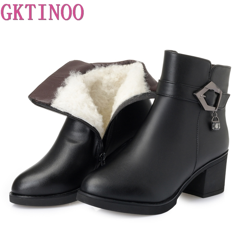 GKTINOO 2018 New Winter Warm Wool Comfortable Snow Boots Women Ankle Boots Thick Heel Leather Shoes Woman Fashion Boots