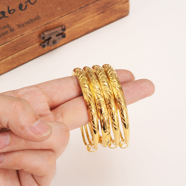 12pcs Dubai Gold Bangle Baby Kids S Color Ethiopian Bracelet Africa Arab Jewelry Circlet Child Anklet Gift In Charm Bracelets From