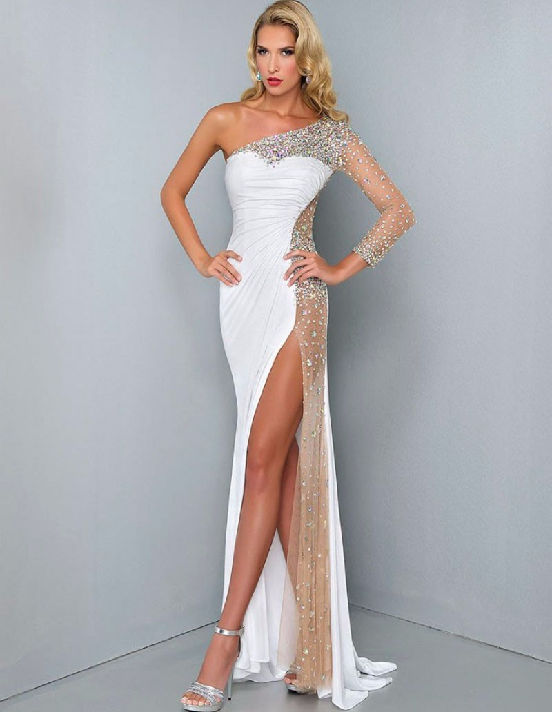 Charming One Shoulder Long Sleeve White Prom Dresses...