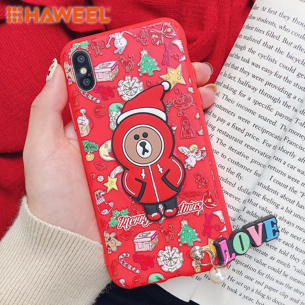 HAWEEL Christmas Pattern TPU Case With Pendant For iPhone X XS MAX XR Shell Guard Cover