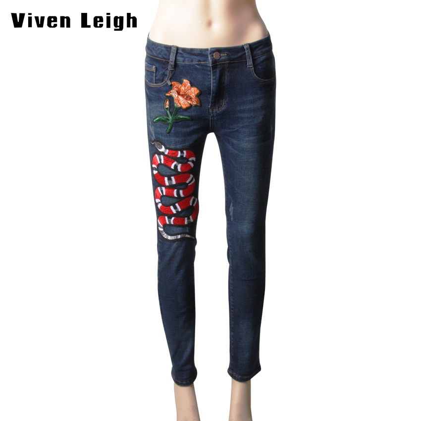 Hand embroidery jeans winter autumn warm snake and flower ripped hand embroidery jeans winter autumn warm snake and flower ripped jeans for women cropped denim pants slim trousers in jeans from womens clothing ccuart Images