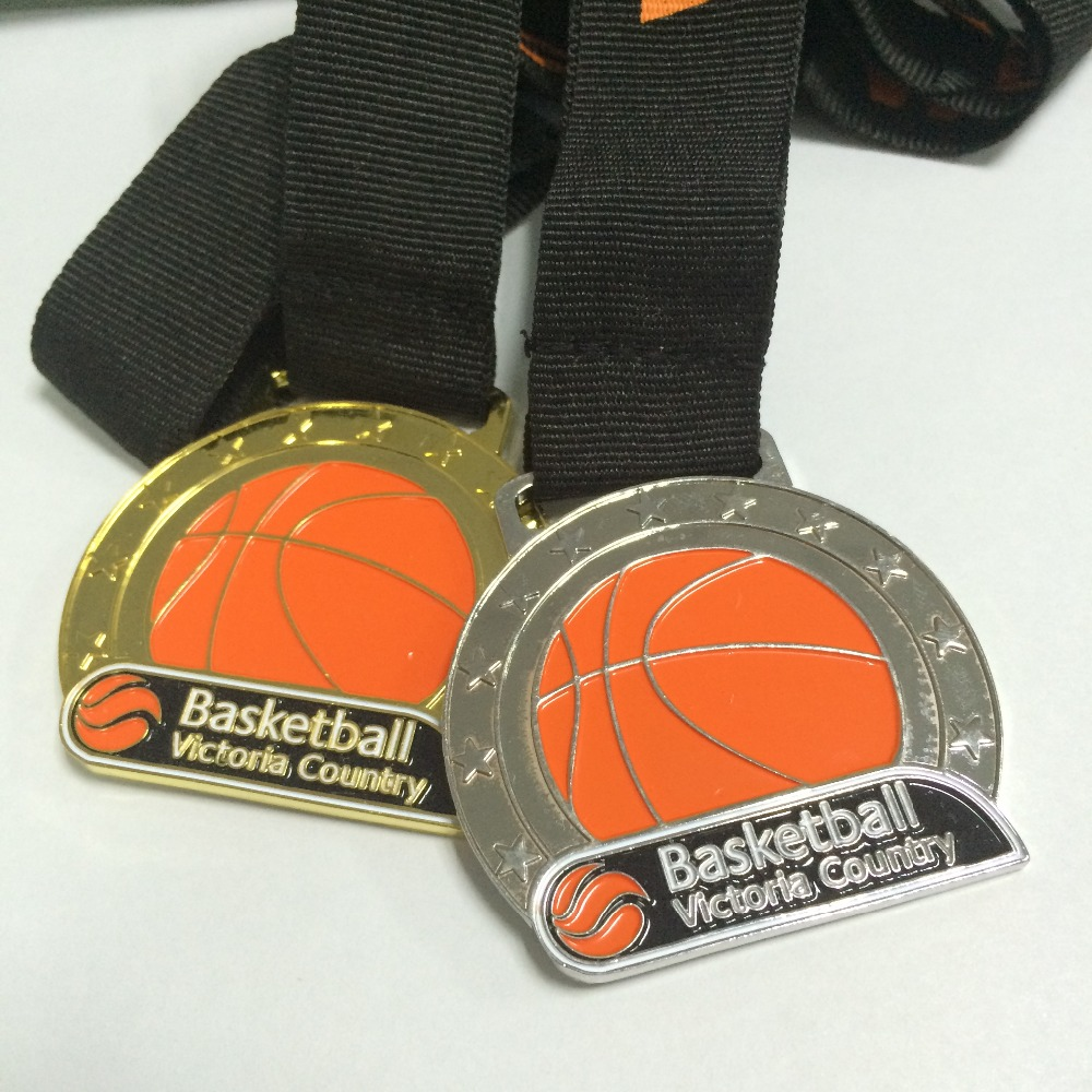 custom medal with same logo medal for first place/ second place and third place as gold/silver/bronze me--63.5mm diameter-100pcs image
