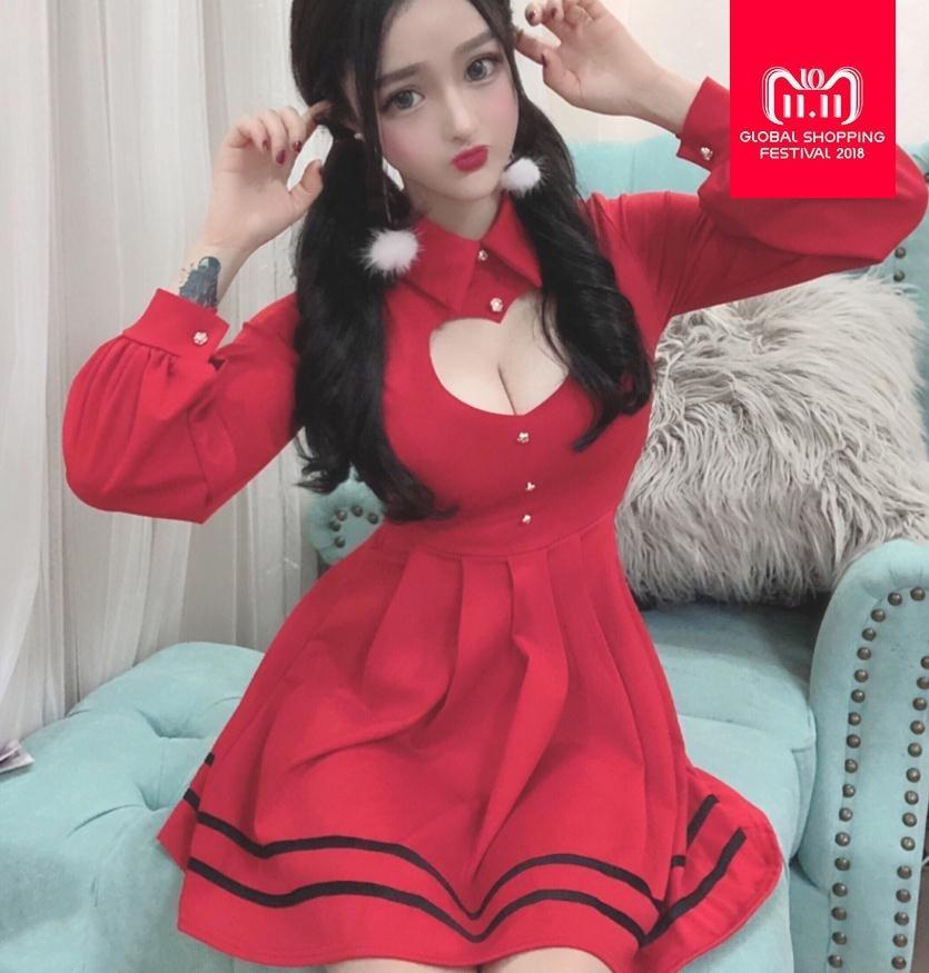 fc533faf0eda60 Goede Koop Lente Koreaanse Sexy Geplooide Rode Jurk 2018 Vrouwen ...